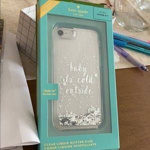Kate spade clear case w moving sparkles/snowflakes